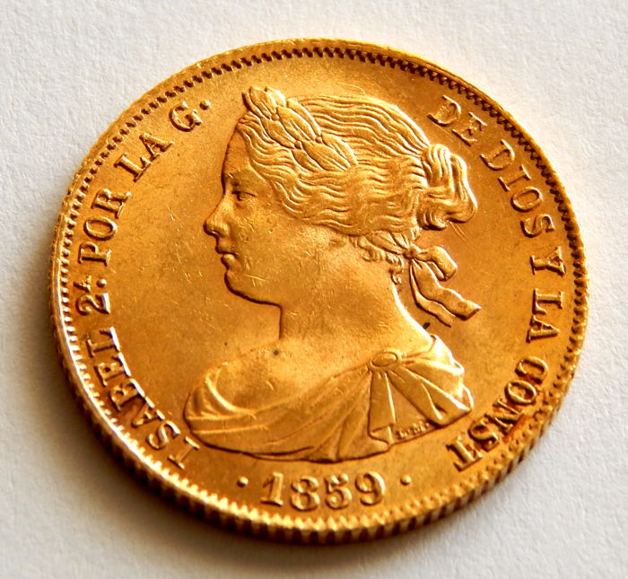Spain - 100 Reales 1859 Barcelona - Isabel II - Gold