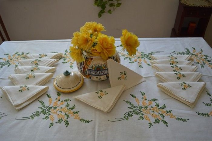 Linen canvas tablecloth for 12 with handmade embroidery depicting mimosa flowers - Linen