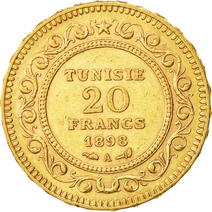 Tunisia, French Protectorate – 20 Francs 1898 A (Paris) – gold