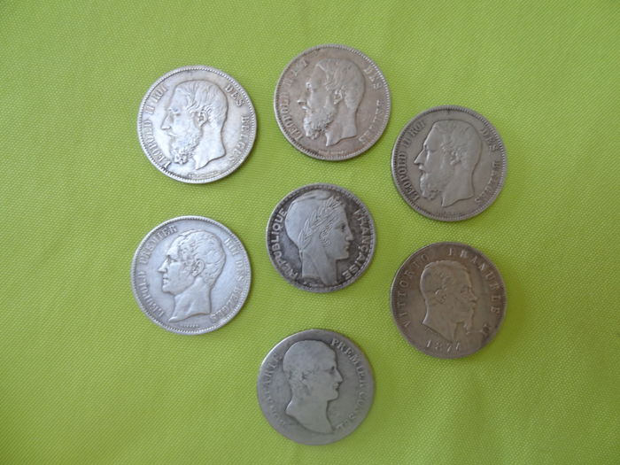 World - Lot of 7 coins (Blegium, France, Italy) 1804/1934 - silver