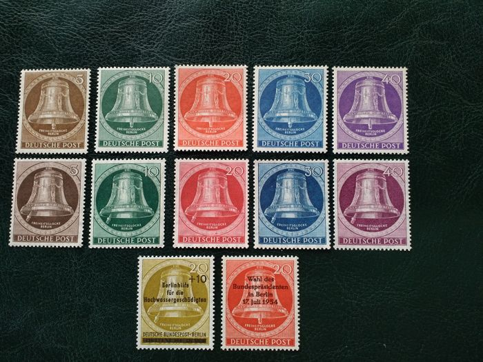 Germany 1951, Liberty Bell(left), Liberty Bell(middle), Gibbons catalogue: 61-65. 68-72. Overprinted Stamps: 107,108