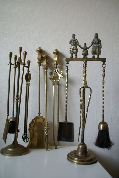 Collection of three antique brass/bronze hearth sets