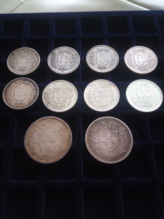 Switzerland - 5 Francs, 1923 - (2 coins)  + 5 Francs, 1931, 1932, 1933, 1935, 1954, 1966, 1967 and 1969 (10 coins)