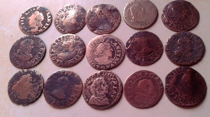 France - Louis XIII (1610-1643) - Lot of 15 Double Tournois coins, to be identified