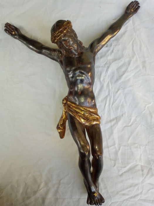 Christ in wood, silver and gold - 19th century