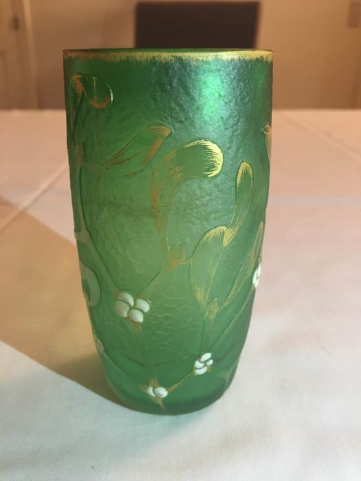 Daum - Art Nouveau etched and gilt glass vase