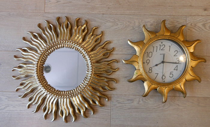 Manufacturer unknown - gold-coloured sun mirror and sun clock in Hollywood Regency style