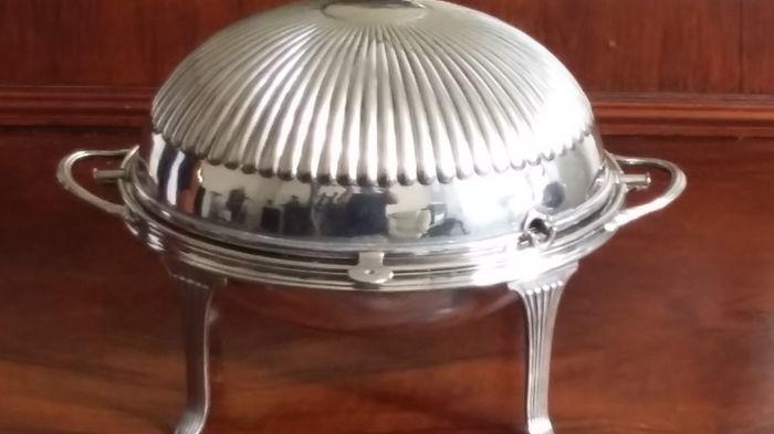 Brothers Sheffield  Henry Atkin Old Sheffield Plate Dome Roll Top Food Warmer SILVER PLATED MADE IN ENGLAND.