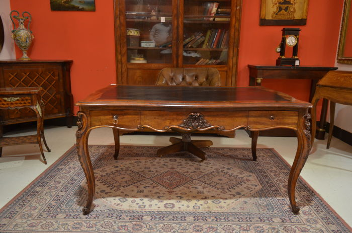 Louis Philippe Central Desk - Mahogany - France - 1840 c.