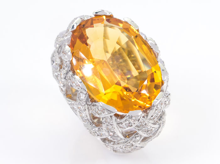 11.51Ct yellow citrine & diamond ring - 18K white gold - ***NO Reserve price***