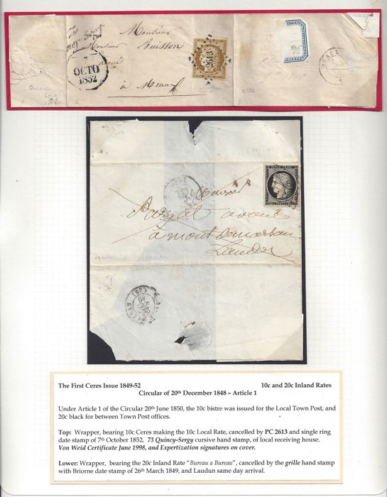 France 1849/1850 - Emission First Ceres, 2 Letters - Letter with 10c franking and Letter with 20c Franking