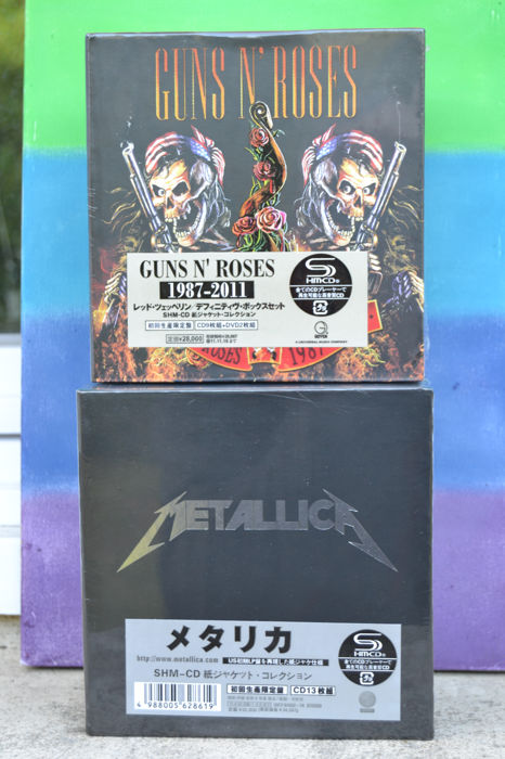 "Metallica ""The Album Collection"" 13 CD Japon SHM-CD Box Set Limited Edition and Guns' N' Roses ""1987-2011"" 9 CD + 2 DVD Japon Edition Box Set"