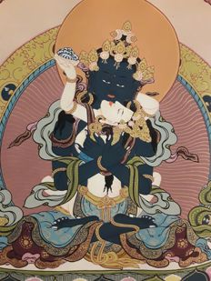 Thangka depicting  VAJRADHARA and his consort - Nepal - second half of 20th century - (109 cm) -