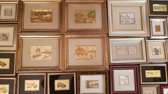 Lot of 22 paintings crafted in 800/925 silver leaf and  22/23kt gold leaf - in different sizes - many are also signed all with warranty certificates.