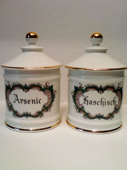 """2 French Limoges Porcelain Apothecary Jar """"Arsenic"""" & """"Haschisch"""""""
