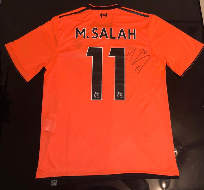 check out b5937 8e689 Signed Mohamed Salah Liverpool Away Shirt 17/18 Proof - Catawiki