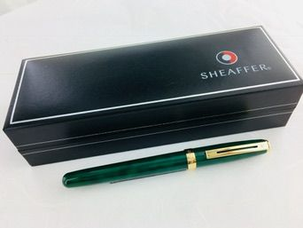 Sheaffer Prelude fountain pen marbled green.