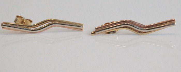 14 kt tricolour gold ear studs, size 3 x 25 mm