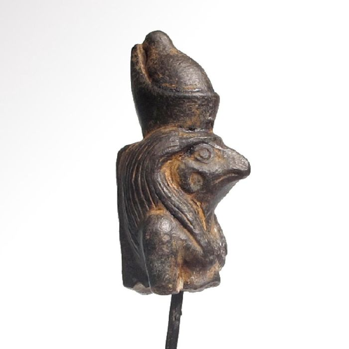 Egyptian Steatite figure of Horus the Falcon wearing the Double Crown  H: 4.3 cm