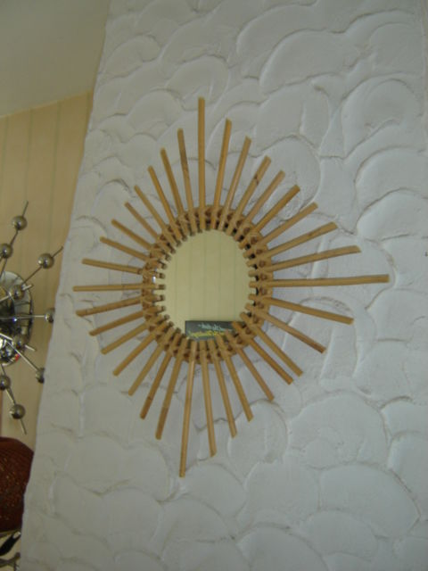 Large design bamboo sun mirror