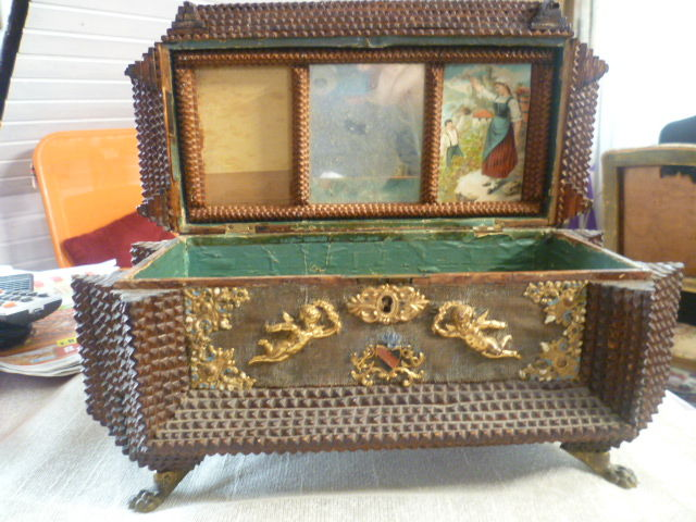 Military casket decorated with chip carving technique many brass
