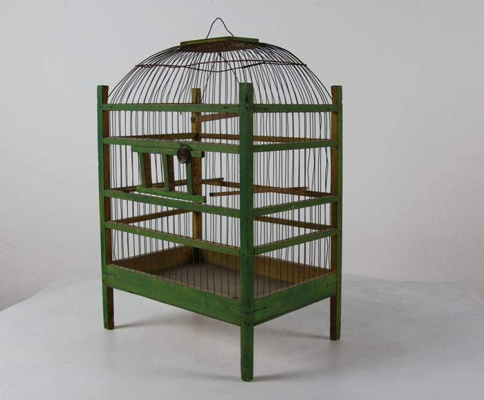 An authentic green bird cage - 2nd half of the 20th century