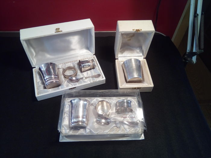 Silversmith Daniel Crégut & Christofle - 3 boxed baby gift sets for birth or baptism -