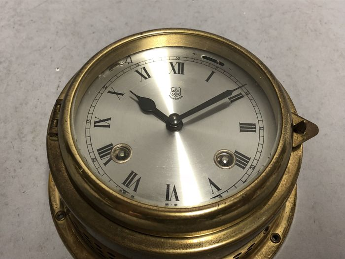 Yellow brass ship's clock with striking mechanism - strikes glass - Mendoza - Germany - 1960s