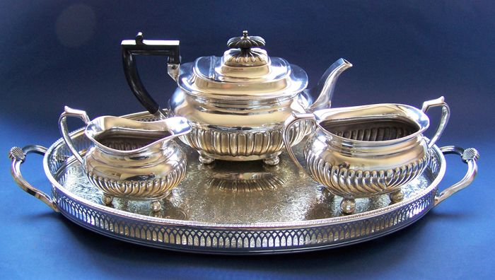 English 19th & 20th Century Vintage, Silver Plated, Georgian Style 3 Piece Tea Set & Tray