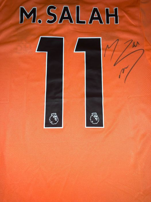 check out 9d297 e8aac Signed Mohamed Salah Liverpool Away Shirt 17/18 Proof - Catawiki