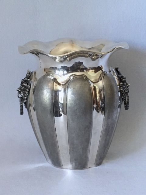 Silver Ice Bucket with Masks Italy, 20th century