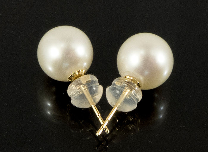 18 kt gold pearl earrings, stud earrings, pearl Ø 8.6 mm