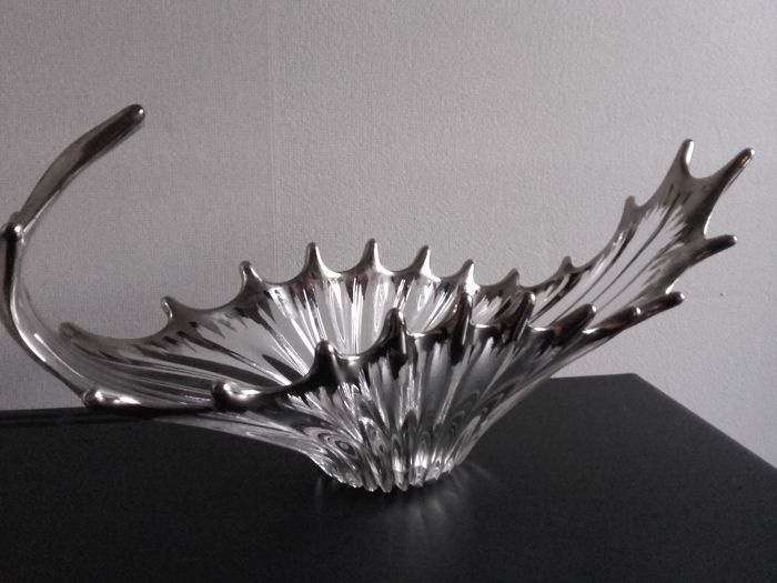 Cristallin Bayel - large crystal bowl with silver overlay