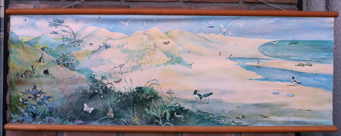 "Old school poster as summer landscape at sea with many animals or summer poster from ""W.G van de Hulst Jr."""