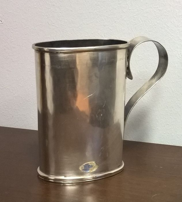 Old Mug, Hand-wrought Silver 800, measure unit Florence (Italy), 20th c