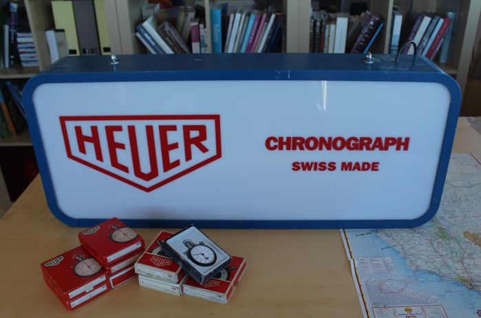 Extremely rare vintage HEUER-CHRONOGRAPH 2x sides luminous sign / advertise. 1980´s