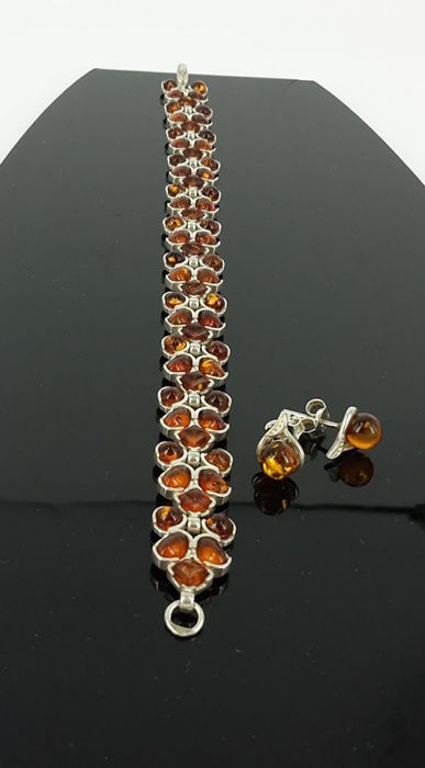 Set - Earrings & Bracelet - lenght 19 cm - natural Baltic amber - Silver 925 - UV test - no pressed