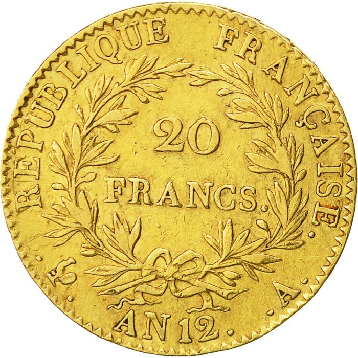 France – 20 Francs An 12 A (Paris) – Bonaparte First Consul – gold