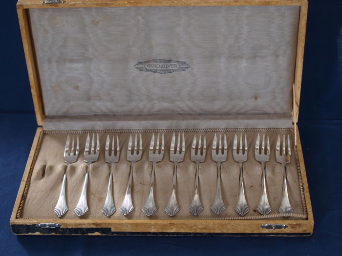 11 cake forks silver plated, Gero silver, Zeist
