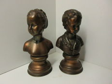 Couple of bronze alloy sculptures, boy and girl, - signature Gabo - after Houdon - Alexandre and Louise Brongniart - 20th century