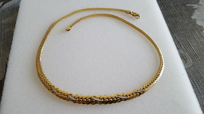 Women's necklace in 18 kt yellow gold 750 and 18 kt white gold 750, links - Length 43 cm