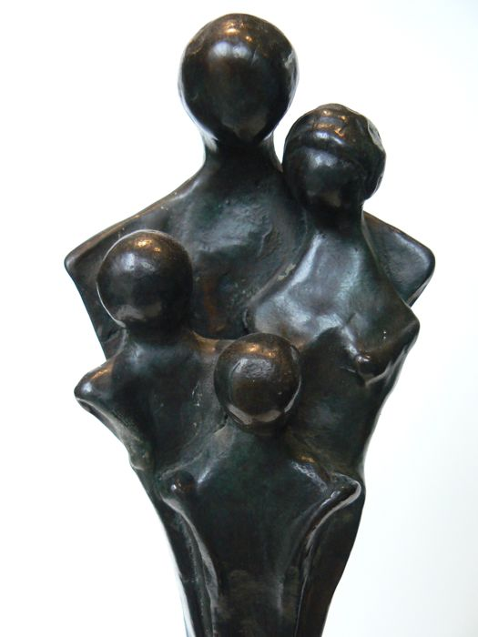 Abstract solid bronze sculpture - Family - signed - 20th century