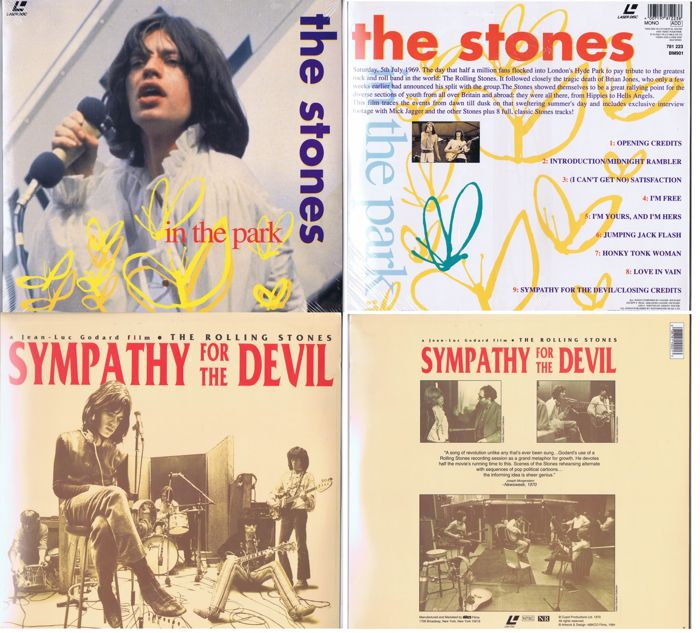Rolling Stones - lot of 2 Laserdisc: 1. The Stones - In The Park (Gravity / BMG 781 223) made in UK | 2. Sympathy For The Devil | Jean Luc Goddard Film (ABKCO Films ‎1002-1)