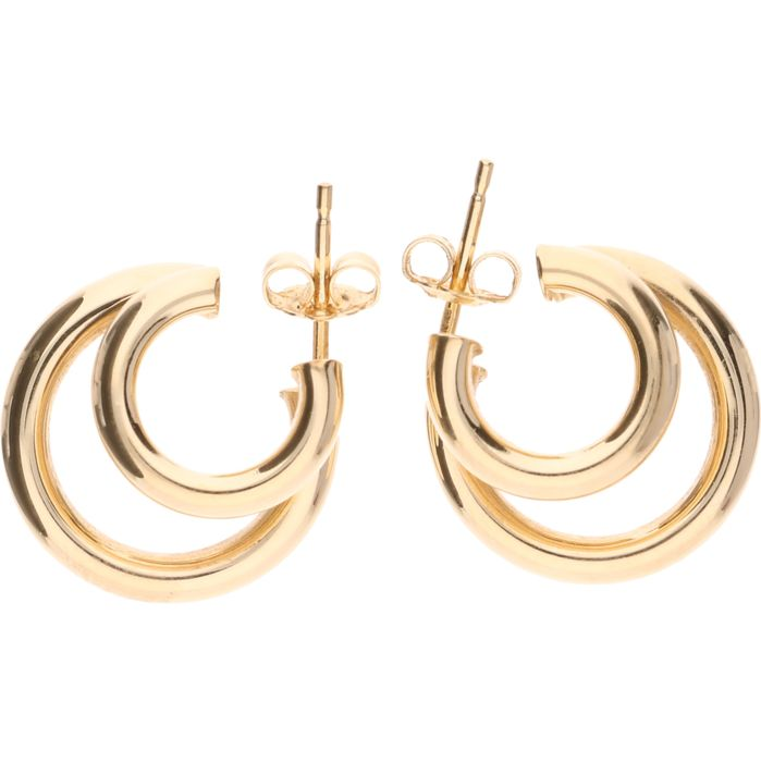 14 kt yellow-gold earrings - diameter: 18 mm