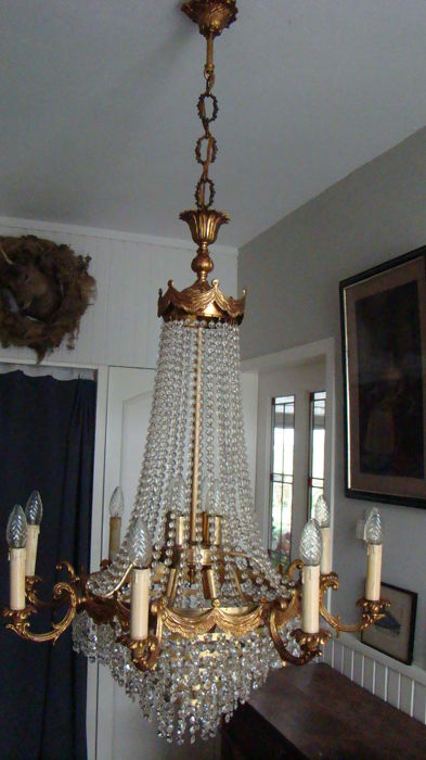 Unknown designer - Large pouch chandelier with 16 light sources