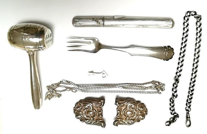Lot with antique silver, mostly from the Netherlands