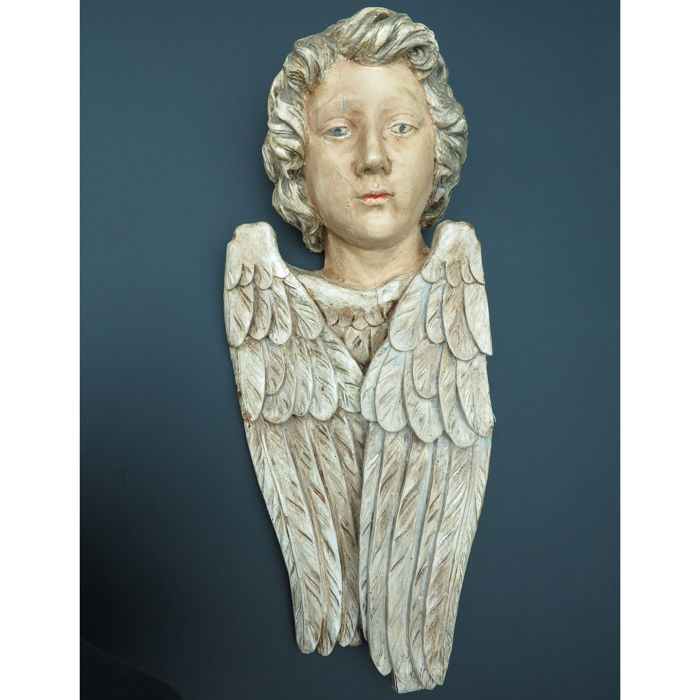 Large polychrome wooden angel - Flanders - late 19th century