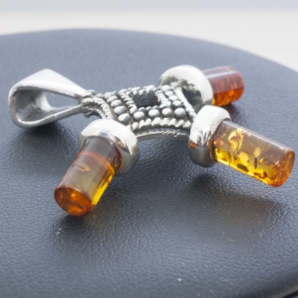 Antique amber cross with silver embeddings, silver 925/1000