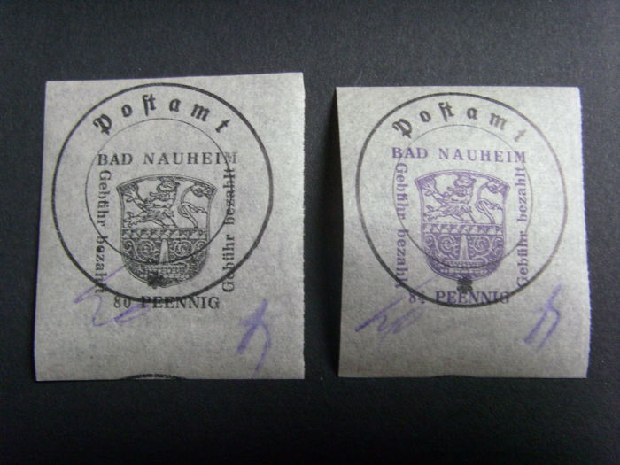 Bad Naureim-Rosswein Ausgaben 1945/1948 – no. 4 and 5 (cat. Michel) and Rosswein blocks no. 1 and 2