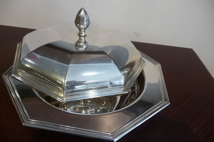 very nice octagonal silver plated serving dish (1548 g 30 cm)